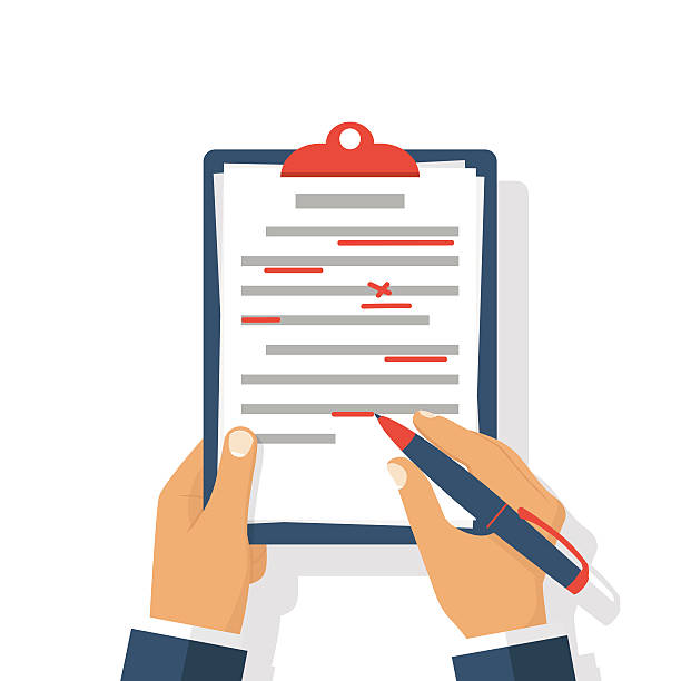 Editing documents to correct errors. Editing documents to correct errors. Proofreader checks transcription written text. Clipboard and red pen in hands of men. Spell check. Vector illustration flat design. Isolated on white background. mistake stock illustrations