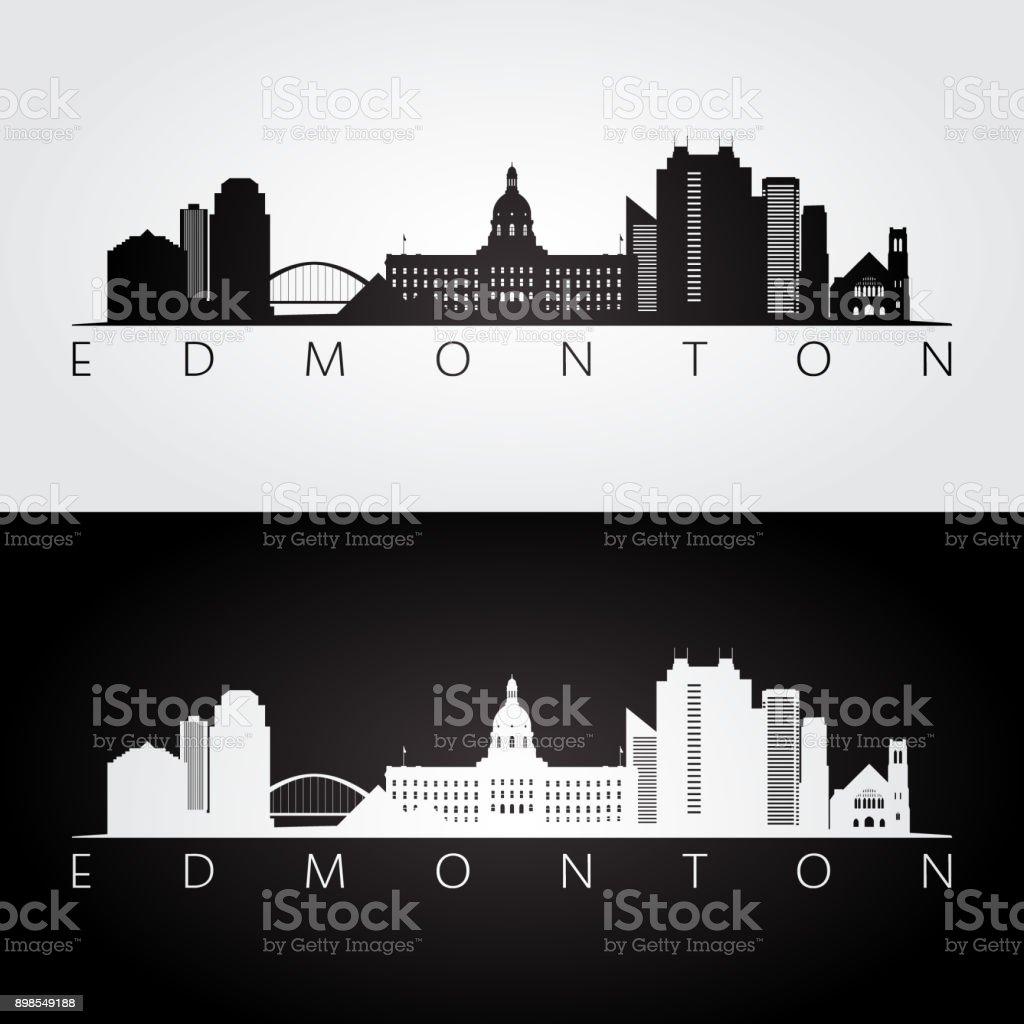 Edmonton skyline and landmarks silhouette, black and white design, vector illustration. vector art illustration