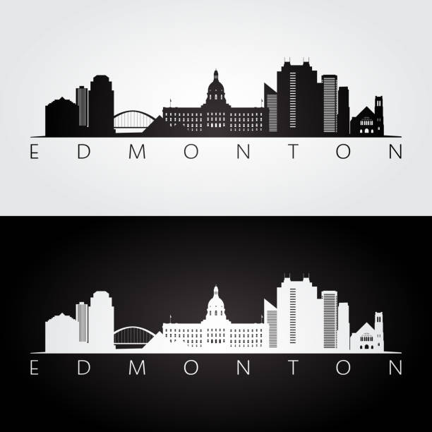 Edmonton skyline and landmarks silhouette, black and white design, vector illustration. vector art illustration