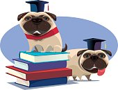 vector illustration of educated pugs and stack of books