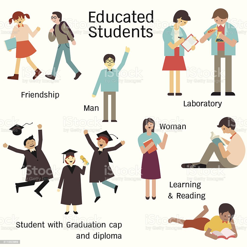 Educated student set vector art illustration