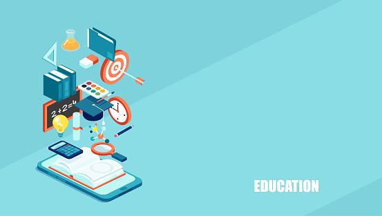 Education 3d isometric web icons.