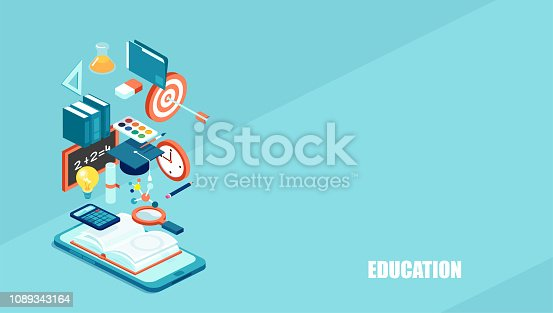 Education 3d isometric web icons. Vector abstract background for online learning, distant graduation and school.