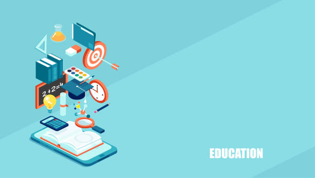 education 3d isometric web icons. - online learning stock illustrations
