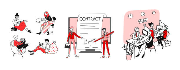 Education and contract set Education and contract set. Students reading books, clients visiting bank office. Flat vector illustrations. Studying, learning, loan concept for banner, website design or landing web page signature collection stock illustrations