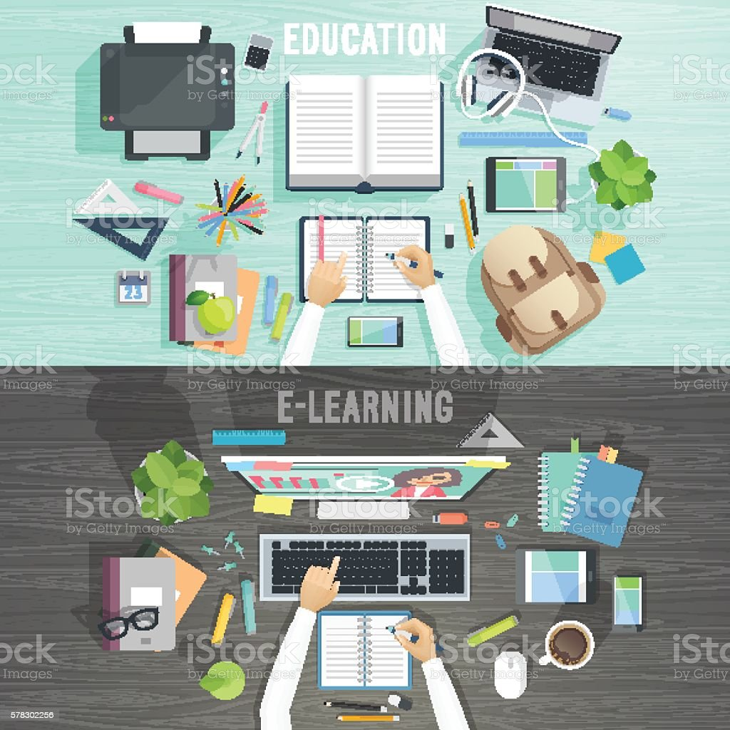 Education and e-learning concepts. vector art illustration