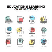 Education and E-Learning icons. Vector line icons set. Premium quality. Modern outline symbols and pictograms.
