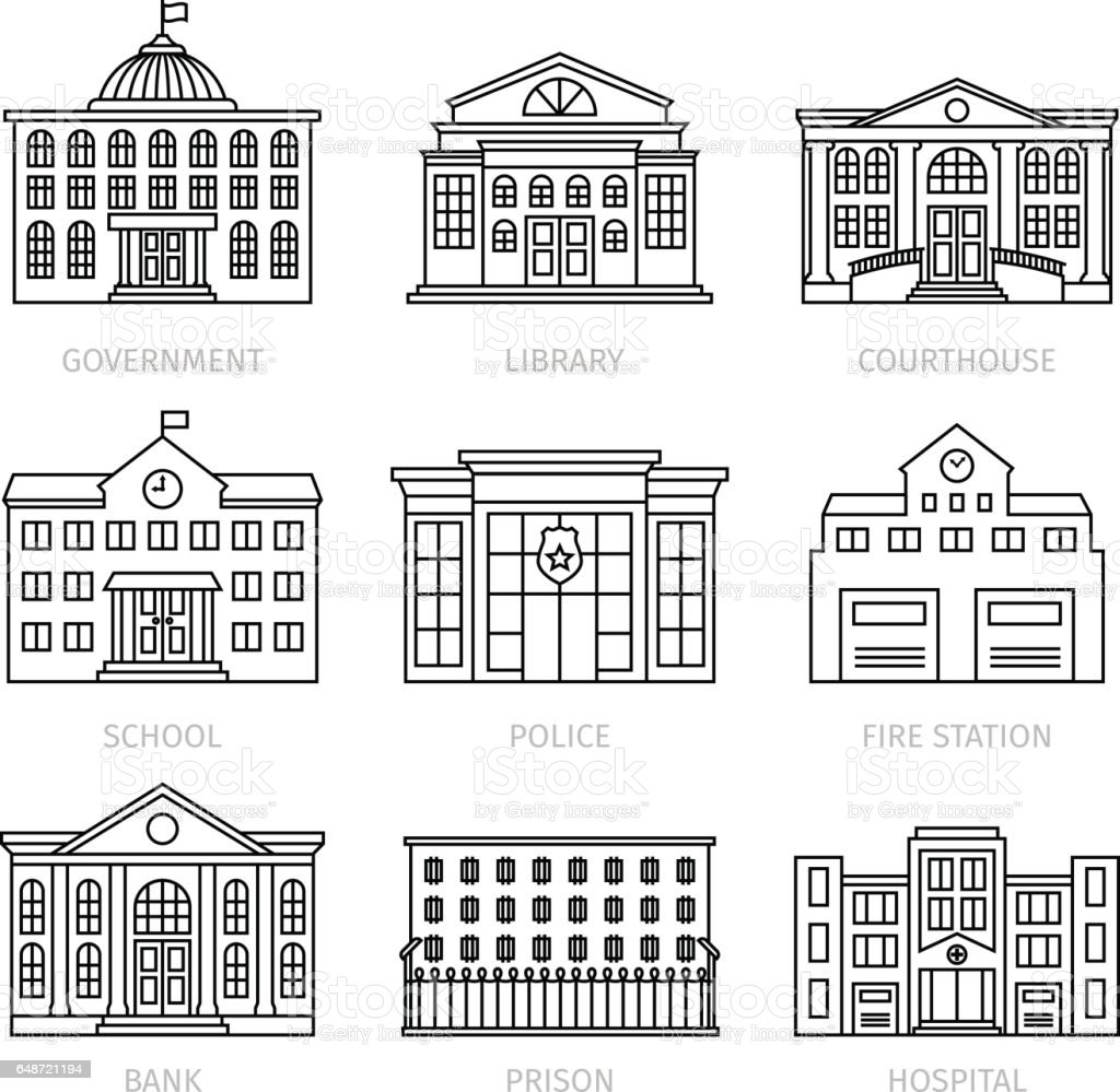 Education and government thin line buildings vector art illustration