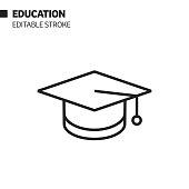 istock Education and Graduation Line Icon, Outline Vector Symbol Illustration. Pixel Perfect, Editable Stroke. 1197691160