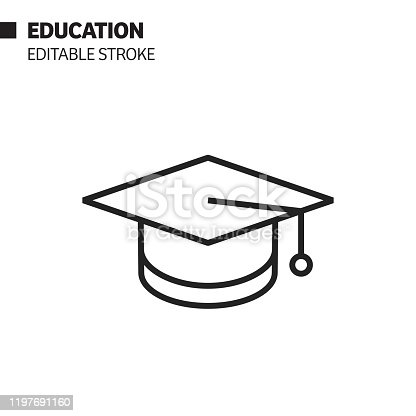 istock Education and Graduation Line Icon, Outline Vector Symbol Illustration. Pixel Perfect, Editable Stroke. 1197691160