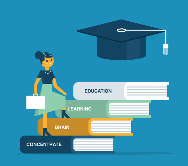 Education and knowledge - Businesswoman vector art illustration