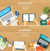 Education and learning banner flat design template. School objec