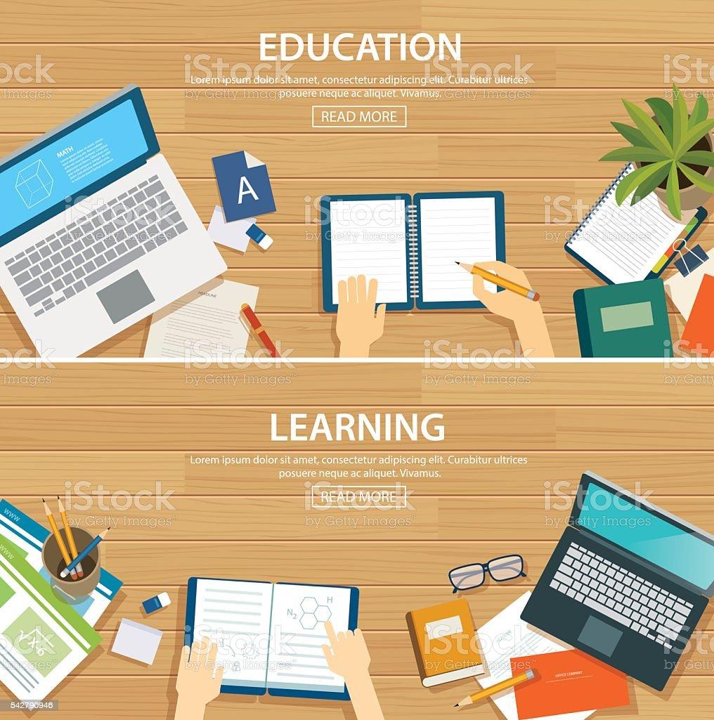 Education and learning banner flat design template. School objec vector art illustration