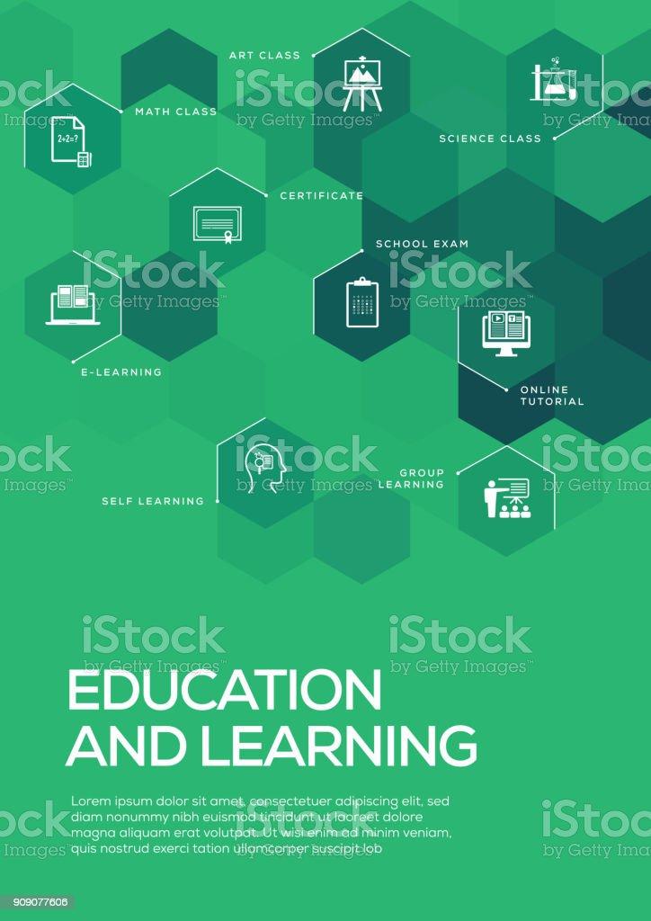 Educação e aprendizagem. Folheto modelo de Layout, Design da capa - ilustração de arte em vetor