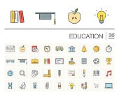 Education and learning color vector icons