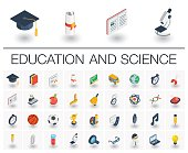 Education and learning isometric icons. 3d vector