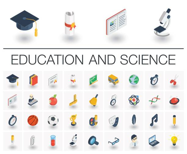 education and learning isometric icons. 3d vector - 3d icons stock illustrations, clip art, cartoons, & icons
