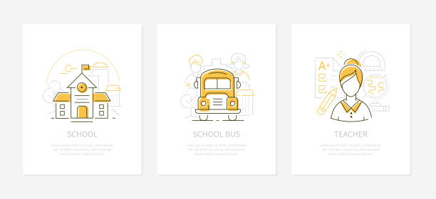 Education and learning - line design style banners Education and learning - line design style banners with place for your text. Images of school building, bus, teacher. Linear illustrations with icons. Tests, students, globe and ruler elements elementary age stock illustrations