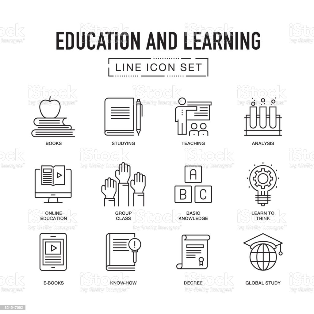 Education and Learning Line Icon Set vector art illustration