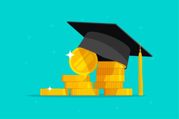 Education and money vector illustration, flat cartoon graduation hat coins cash, concept of scholarship cost or loan, tuition or study fee, value of student knowledge, learning success vector art illustration