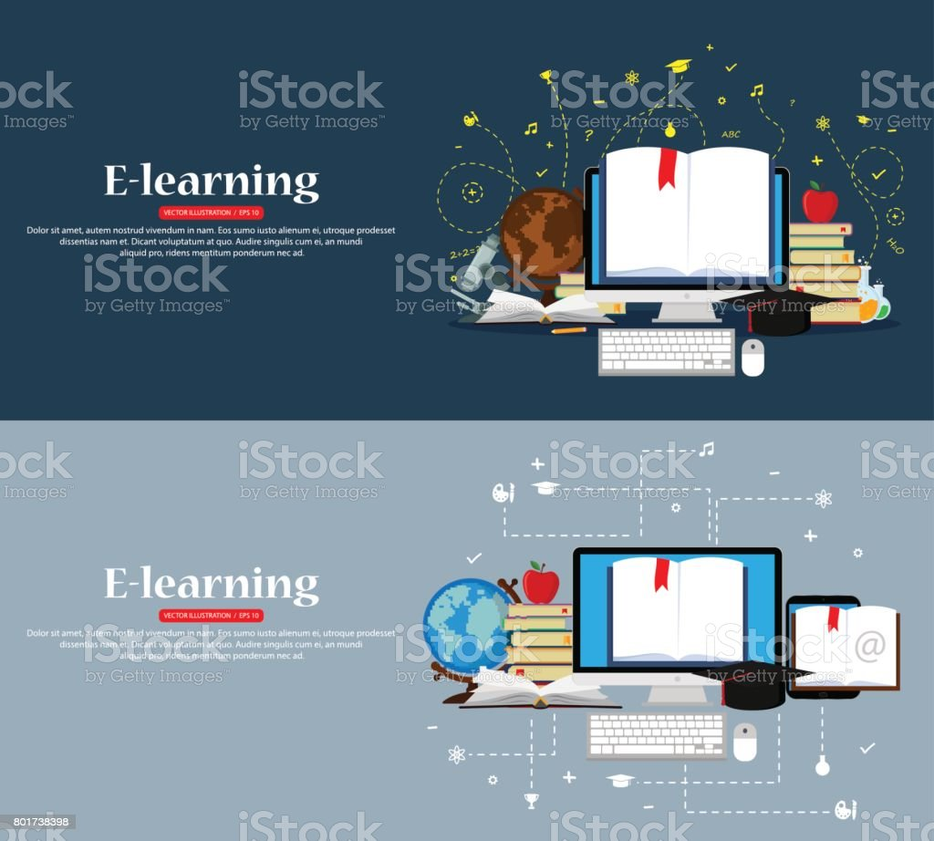 Education and online learning concepts vector art illustration