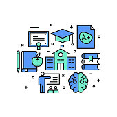 Education and School Concept, Modern Line Art Icons Background. Linear Style Vector Illustration.