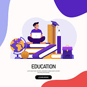istock Education and School Concept Vector Illustration for Landing Page Template, Website Banner, Advertisement and Marketing Material, Online Advertising, Business Presentation etc. 1284023463