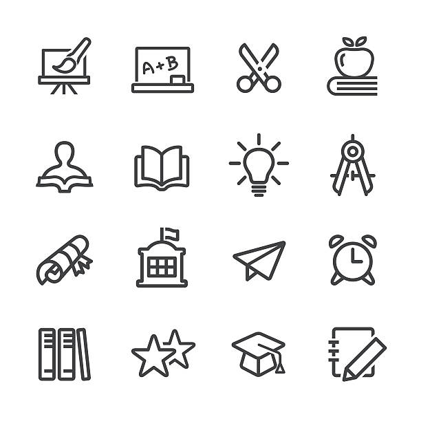 education and school icon - line series - buchstabenschreibweise stock-grafiken, -clipart, -cartoons und -symbole