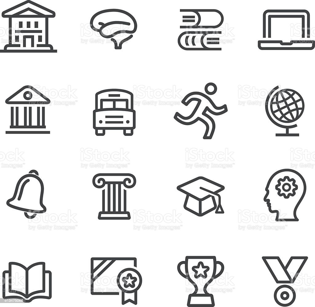 Bildung und Schule Symbole Set-Line Serie – Vektorgrafik