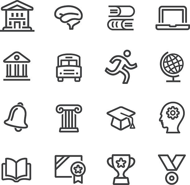 Education and School Icons Set - Line Series View All: schoolhouse stock illustrations