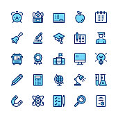 Education and school line icons set. Modern graphic design concepts, simple symbols, linear stroke web elements, pictograms collection. Minimal thin line design. Premium quality. Pixel perfect. Vector outline icons