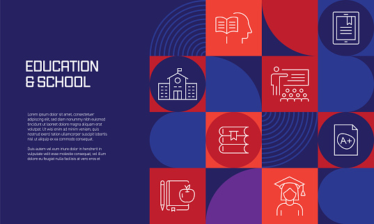 Education and School Related Design with Line Icons. Simple Outline Symbol Icons.