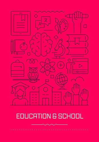 Education and School Related Modern Line Design Brochure, Poster, Flyer, Presentation Template Vector Illustration