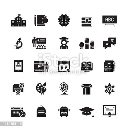 istock Education and School Related Vector Icons 1182463115