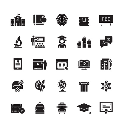 Education and School Related Vector Icons clipart