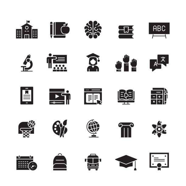 illustrazioni stock, clip art, cartoni animati e icone di tendenza di icone vettoriali relative all'istruzione e alla scuola - scuola