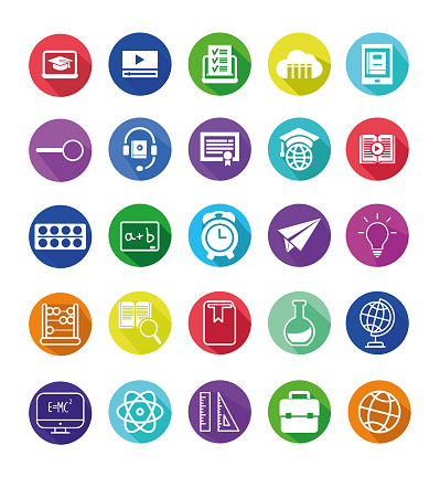 Education and school related vector line icons. Simple set of science, research and education Icons stock  illustration. Trendy flat gradient Education icons with a long side shadow.