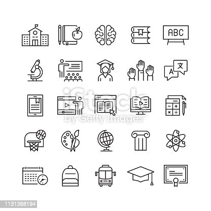istock Education and School Related Vector Line Icons 1131388194