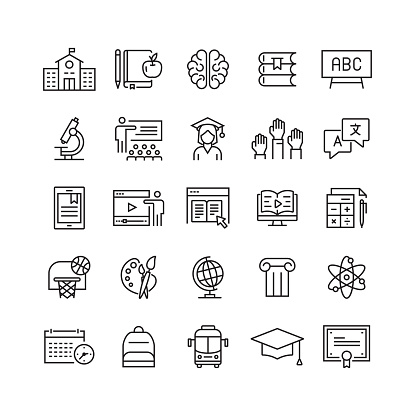 Education and School Related Vector Line Icons clipart