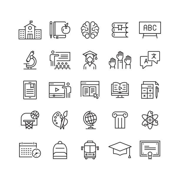 illustrazioni stock, clip art, cartoni animati e icone di tendenza di icone delle linee vettoriali relative all'istruzione e alla scuola - scuola