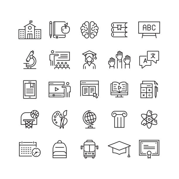 Education and School Related Vector Line Icons Education and School Related Vector Line Icons showing stock illustrations