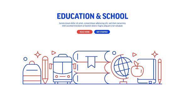 Education and School Related Web Banner Line Style. Modern Linear Design Vector Illustration for Web Banner, Website Header etc.