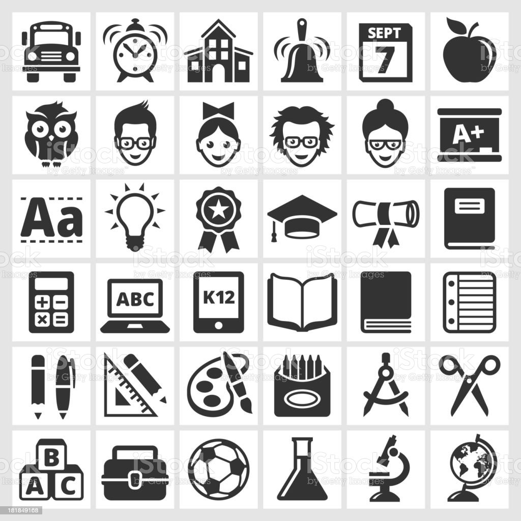 education and school royalty free vector icon set royalty-free stock vector art