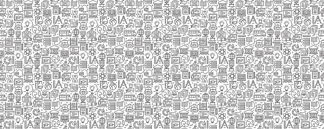 Education and School Seamless Pattern and Background with Line Icons