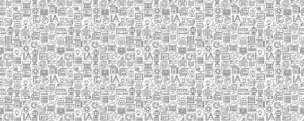 Education and School Seamless Pattern and Background with Line Icons Education and School Seamless Pattern and Background with Line Icons school background stock illustrations