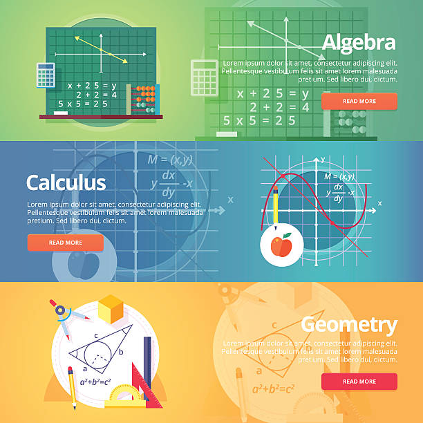 education and science banners set. vector flat design concept. - math class stock illustrations, clip art, cartoons, & icons