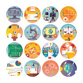 Education and science flat circle icons set. Vector icon collection.