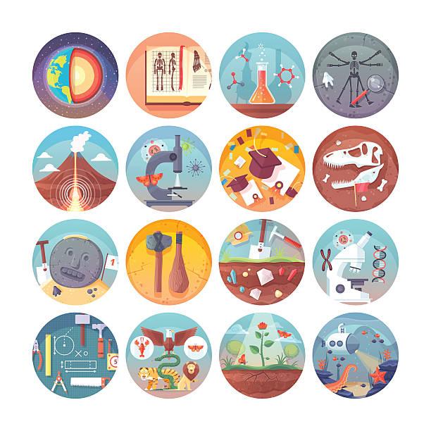 bildbanksillustrationer, clip art samt tecknat material och ikoner med education and science flat circle icons set. vector icon collection. - geologi