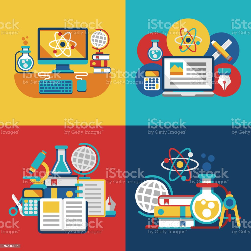 Education and science flat concepts vector art illustration