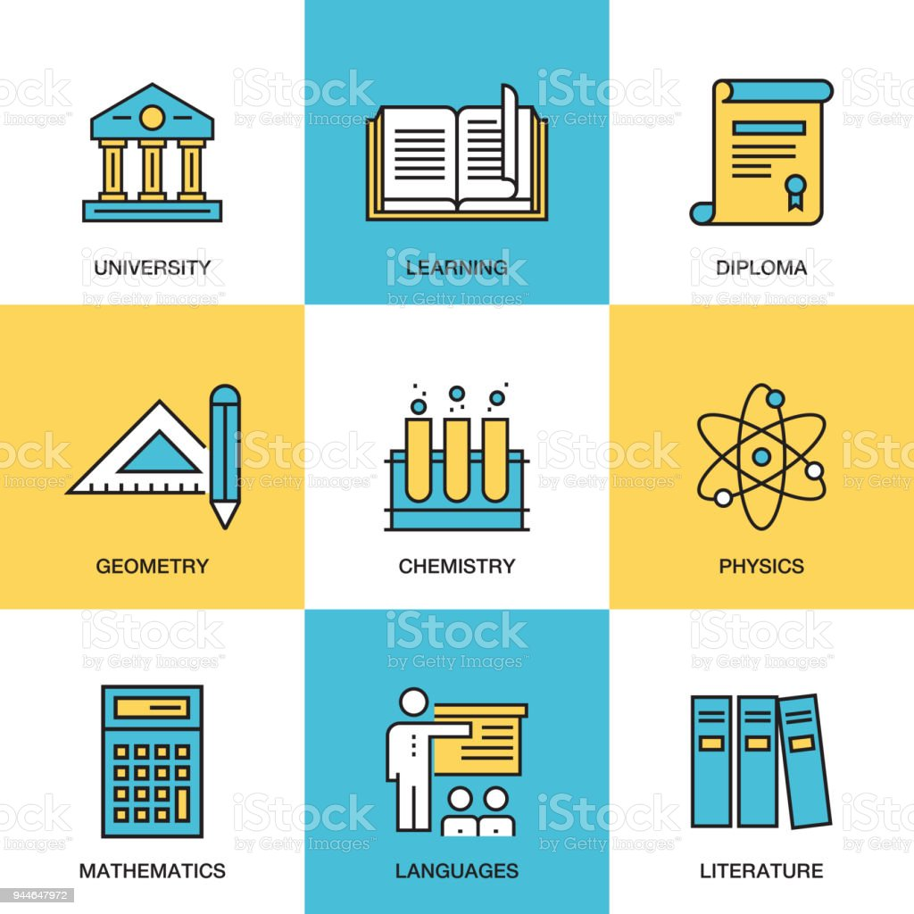 Education and Science Icon Set vector art illustration